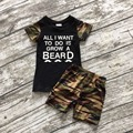 "baby clothes new boy sets black camouflage ""grow a beard"" boutique shorts outfit cute summer clothes  ningbo baby kids wear firm"