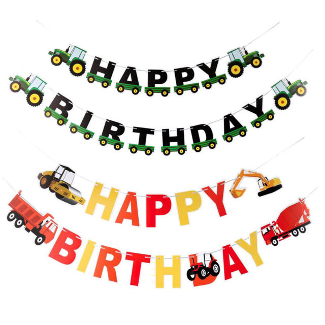 engineering vehicles happy birthday banner paper excavator garland