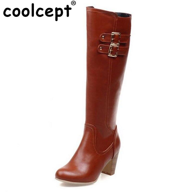ФОТО Size 31-48 Women High Heel Over Knee Boots Fashion Winter Warm Riding Long Boot Round Toe Quality Footwear Heels Shoes