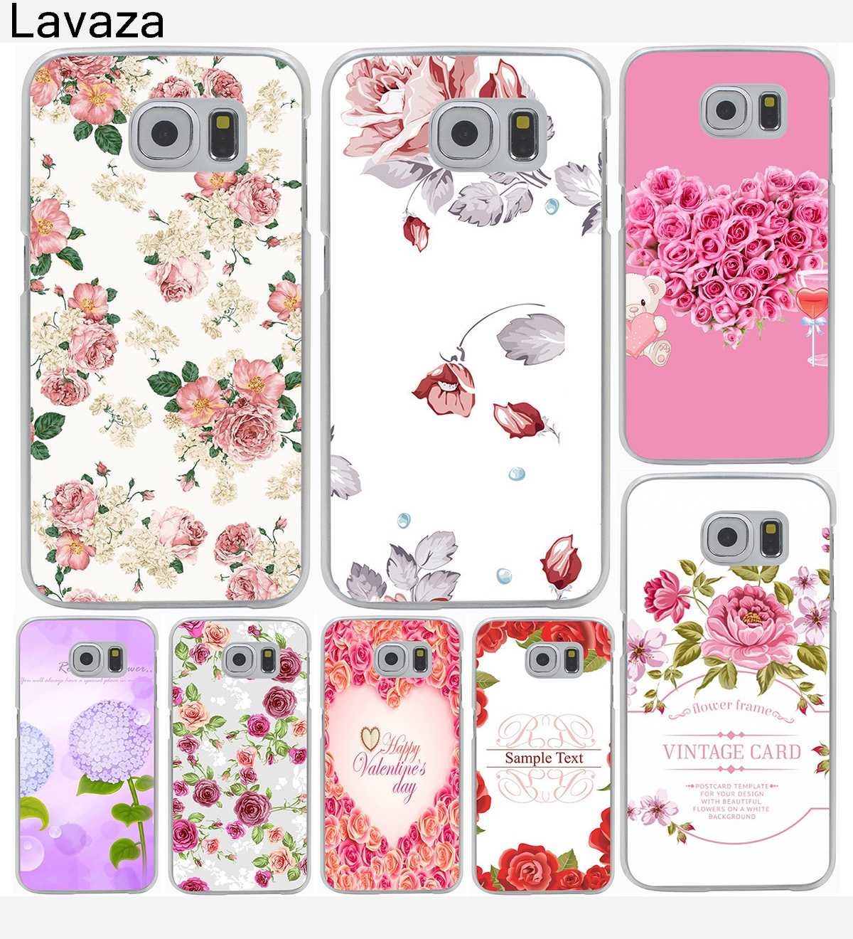 Deluxe Vintage Floral Flower Hard Cover Case for Galaxy S3 S4 S5 & Mini S6 S7 S8 Edge Plus