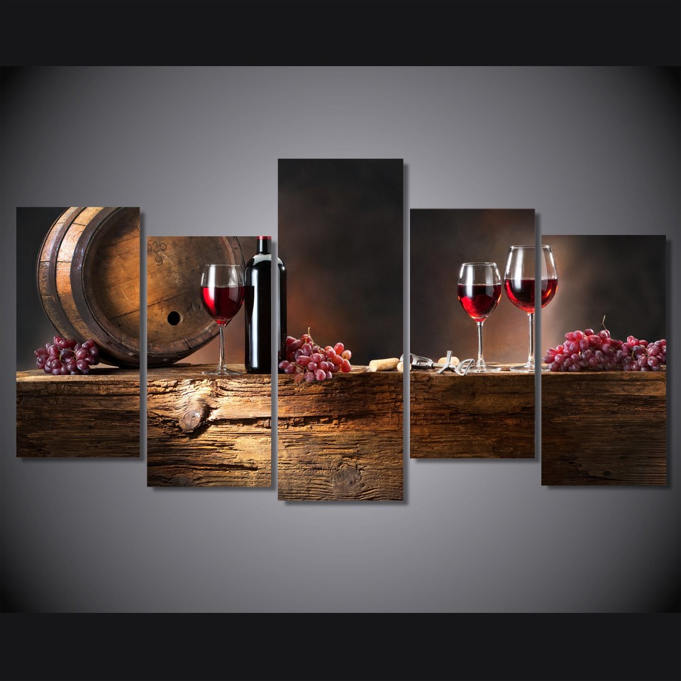 High Quality 5 Pieces Printed Grape Red Wine Glasses Oak