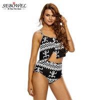 SEBOWEL Plus Taille Asymétrique Overlay Flutter Top 2 Pièces Maillots De Bain Bikini Femmes Maillot de Bain Taille Haute Summear Beachwear Grande Taille