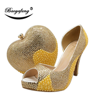 BaoYaFang New Women wedding shoes and bags bride High heels platform shoes Ladies Paty shoes heart purse Day cluthes Golden