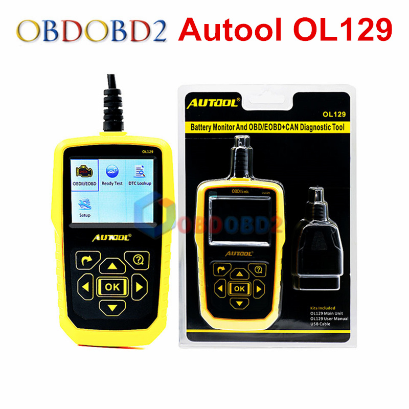 Automotive OBD2 Code Scanner AUTOOL OL129 Battery Monitor and EOBD+CAN Diagnostic Tool Live Data Stream Auto Engine Repair Tool launch x431 obd2 automotive diagnostic scanner obd2 bluetooth adpater mdiag elm327 update online enhanced code reader