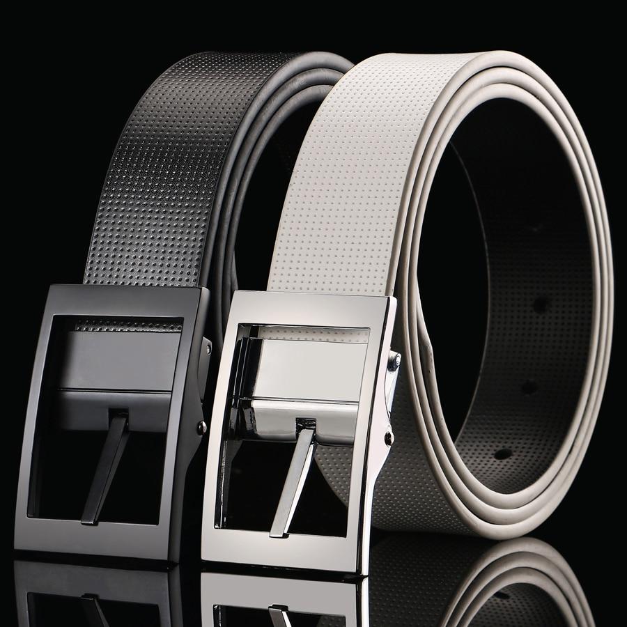 White Genuine Leather Belt For Men Pants Band Designer Belts Men High Quality Ceinture Homme Luxury Jeans Waist Black Pin Belt