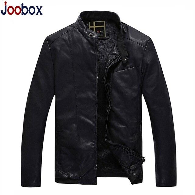 JOOBOX 2017 New thin leather jacket men Mandarin Collar PU biker jacket wool liner winter coat men brand clothing (PY029)