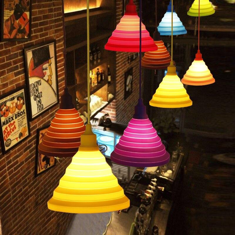 IKVVT Lovely Little Pendant Lights Colourful Silicone Droplight for Indoor Restaurant Livingroom Children Room Decoration E27
