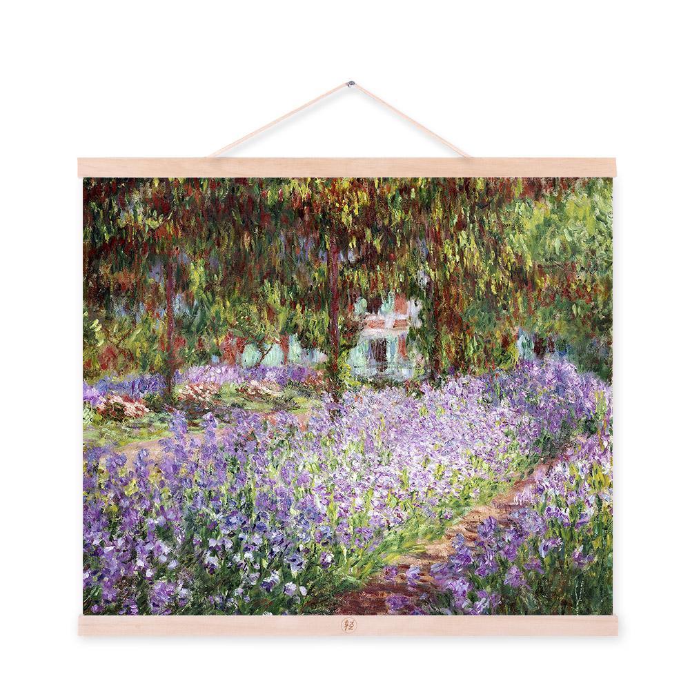 Konda Art Framed Handmade Purple Flower Oil Painting On: Purple Flower Claude Monet Impressionism Cottage Landscape