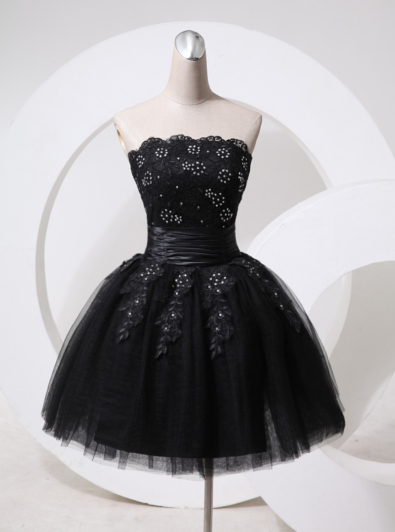Black dress design - 2015 Black Short Design Diamond Decorated Flower Lace Tull Bandage Prom Dress For Prom Party And Any Special Occasions In Evening Dresses From Weddings