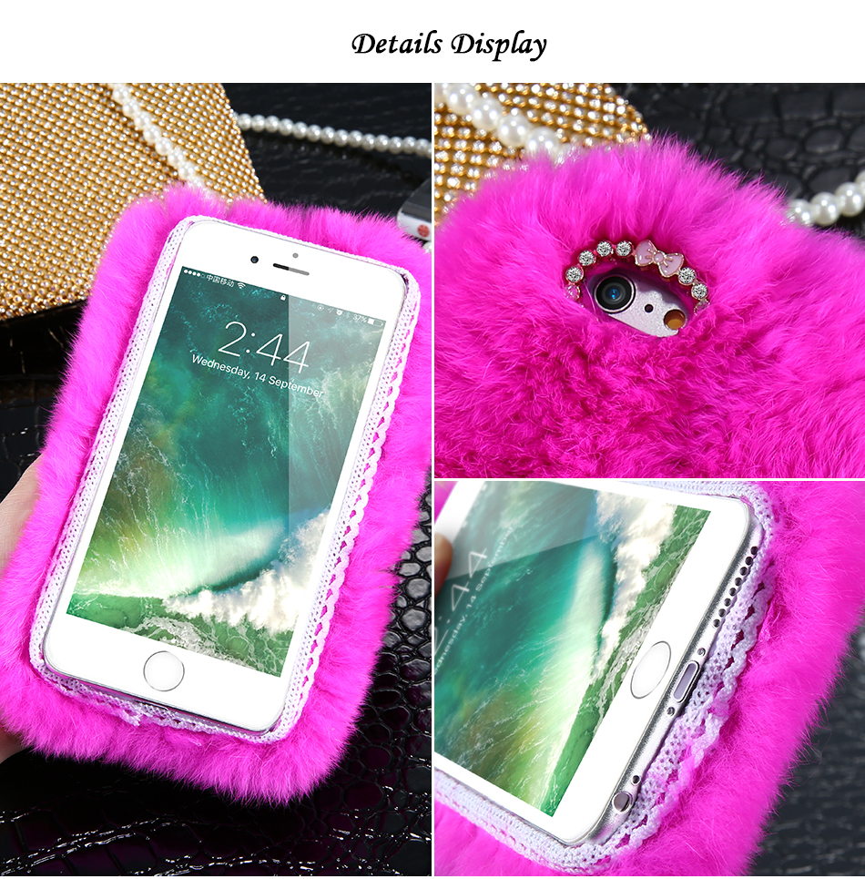 Rhinestone Bling Fluffy Rabbit Hair Case For iPhone 6 6S BOB (4)