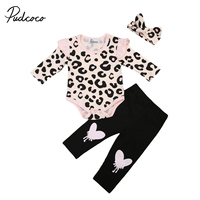 Pudcoco 3Pcs Newborn Baby Girls Clothes LOng Sleeve Leopard Romper Pants Headwear Outfits Cute Baby Cotton