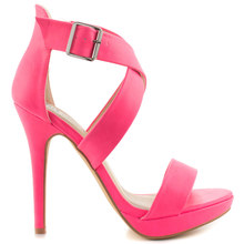 Hot Pink Stiletto Heel Women Sandals High Heels Open Toe Synthetic Upper With Criss Crossing Ankle Strap Platform Shoes Women