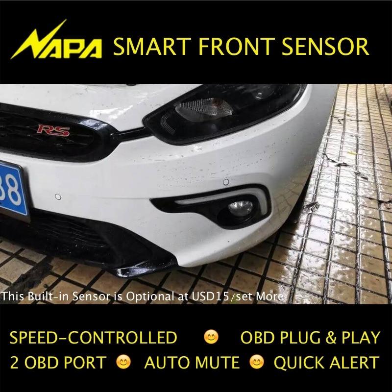 Sebességvezérelt elülső parkolási szenzor OBD Plug & Play Nincs vezetékes vágás, intelligens figyelmeztetés, automatikus némítás 4 érzékelők kiváló minőségű