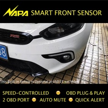 Speed-controlled Front Parking Sensor OBD Plug & Play No Wire Cut, Smart Alert, Automatic Mute 4 Sensors High Quality