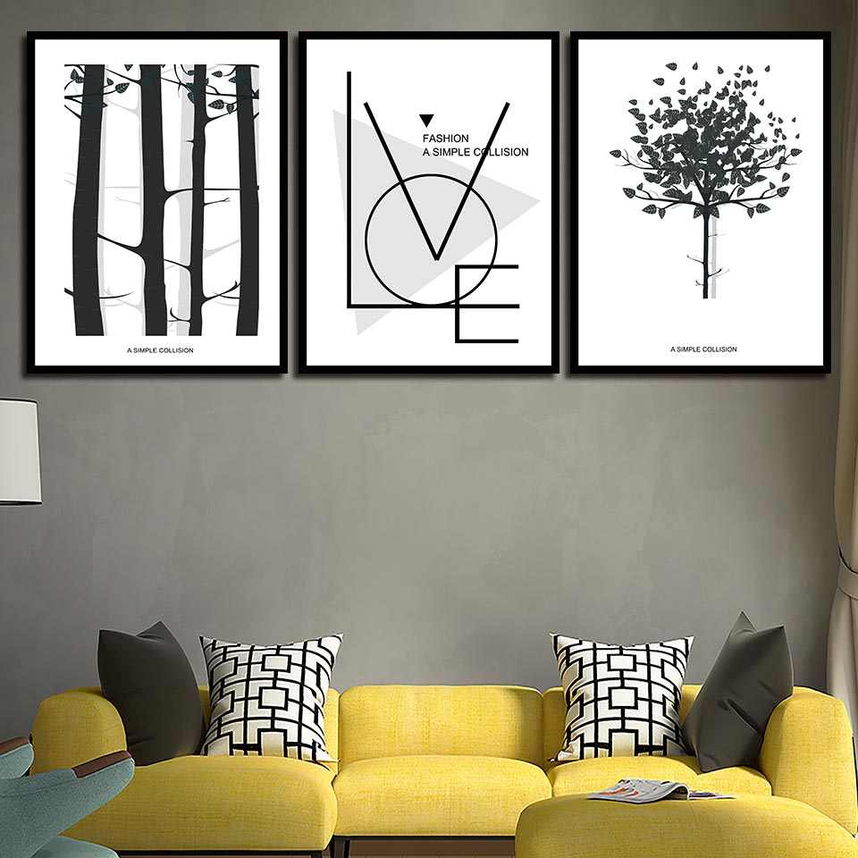 Minimalist Poster Modular Picture HD Simple Black White Tree Canvas Wall Art Nordic Style Print Painting Home Wedding Decoration