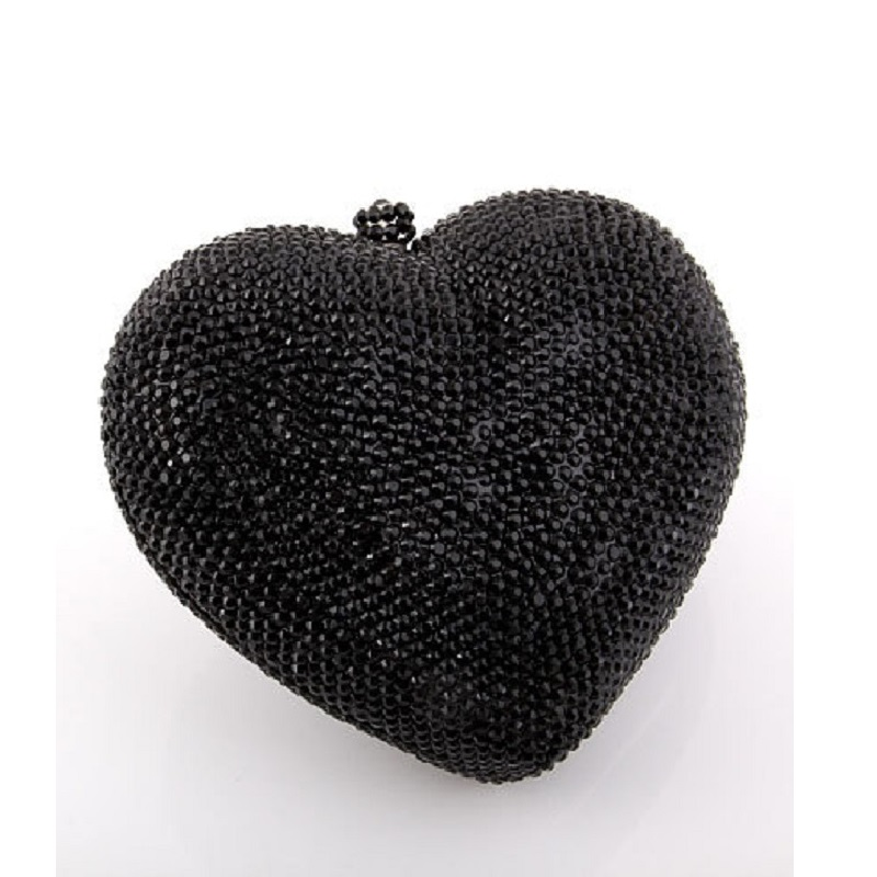ФОТО 7706 Crystal Black HEART Lady Fashion Bridal Party Night Metal Evening purse handbag case box clutch bag