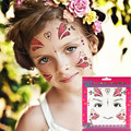2pcs Temporary Metallic Glitter Tattoo Shimmer Pink Flower Face Tattoo Sticker As Gift To Children
