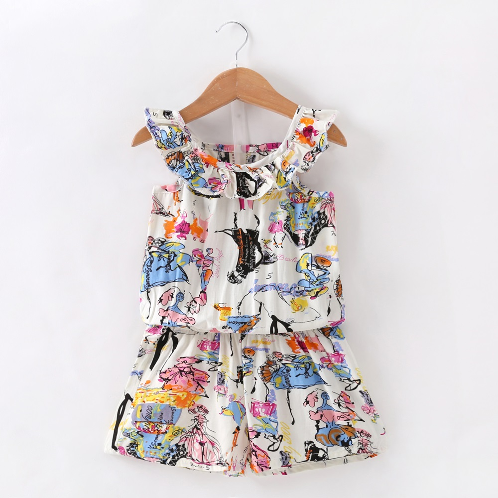 New Baby Girl Clothes Girls Summer Pretty Graffiti Printed Sets Vest+Shorts 2 Pics Suits Casual Bebe Girls Clothing Set 0-5Y цена