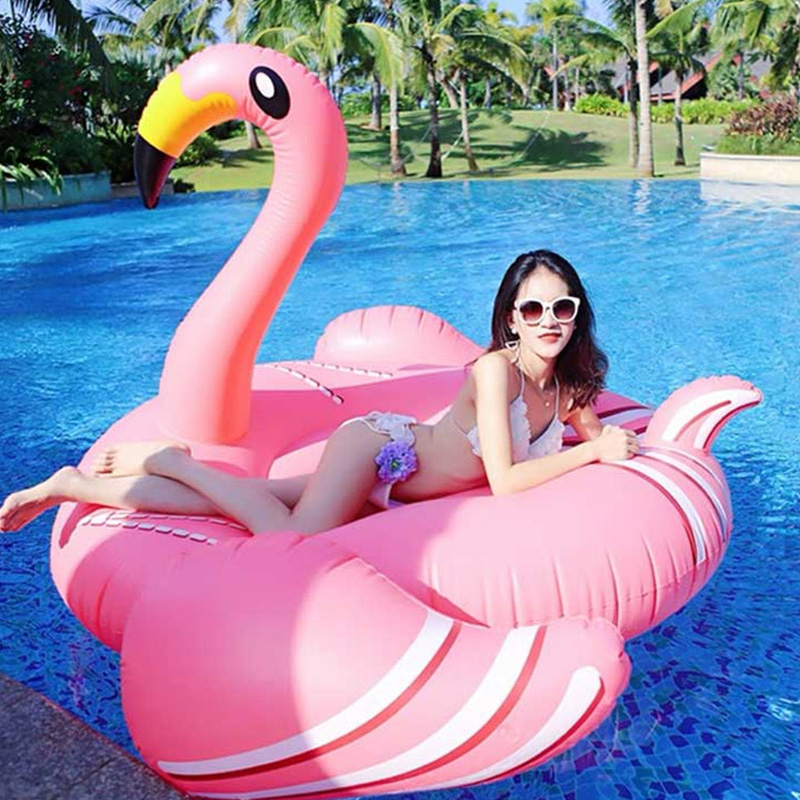 2018 Newest 75 Inches Giant Pink Inflatable Flamingo Swimming Pool Float Water Party Toys Floating Island Air Mattress Beach Bed недорого