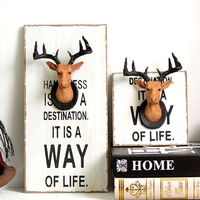Vintage Home Cafe Shop Wall Hanging Decoration Abstract Resin Deer Head Wall Art Ornament Retro Wood 2 Size Cuadros Decoracion