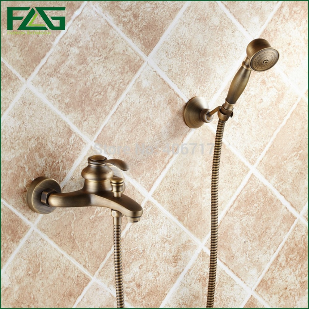 popular antique bath shower sets buy cheap antique bath shower flg modern antique brass single handle wall mounted bath rain shower faucet set handheld shower