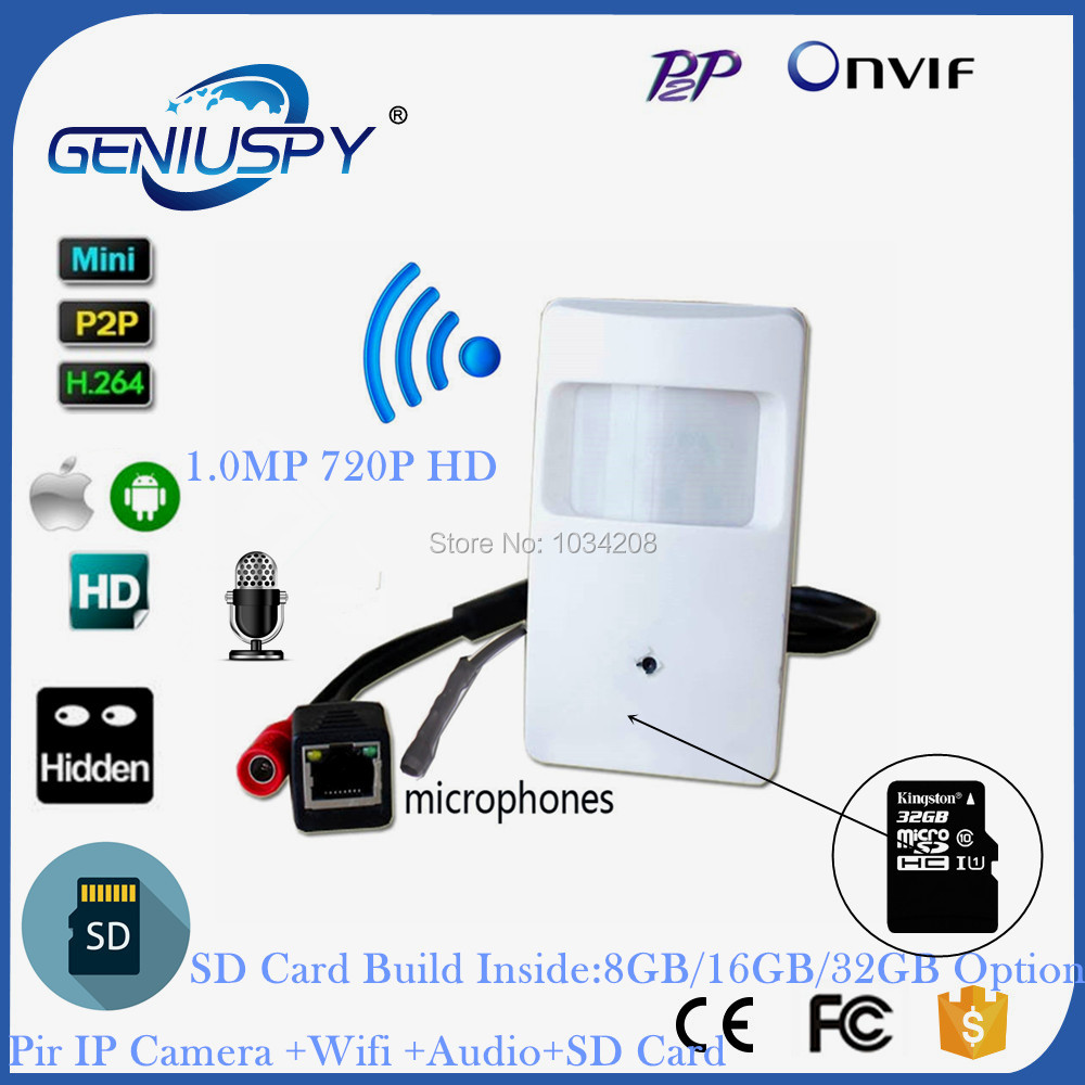 Audio&Video CCTV P2P Onvif 720P IP Pin hole WIFI Covert Camera HD PIR STYLE Motion Detector IP Wireless Camera With SD Card Slot new p2p onvif poe 720p 1 0mp pir mini wifi wireless pinhole ip covert camera tf card slot with audio