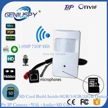 Audio&Video CCTV P2P Onvif 720P IP Pin hole WIFI Covert Camera HD PIR STYLE Motion Detector IP Wireless Camera With SD Card Slot