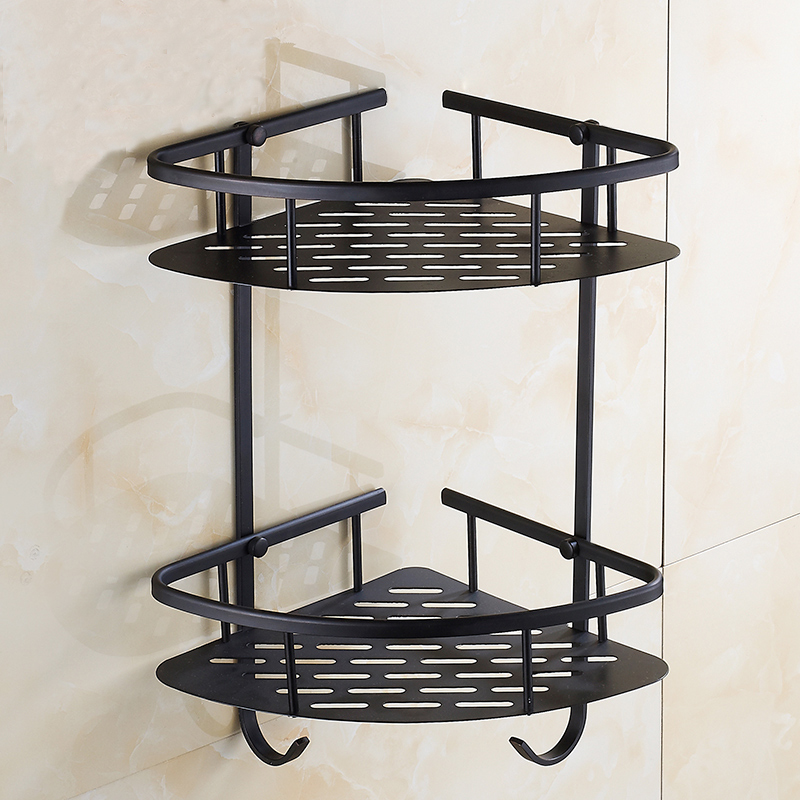 Free Shipping 1/2 Tier Brass bathroom shelves products storage corner rack, Antique wall mounted triangle shelf black  Whosale factory outlet iron bathroom shelf storage rack shelves multilayer promotions