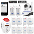 32G CARTÃO SD app gprs controle remoto Sem Fio 720 P Câmera IP wi-fi Sistema de Alarme Home do Assaltante Segurança PIR Sensores de porta Detector de CO