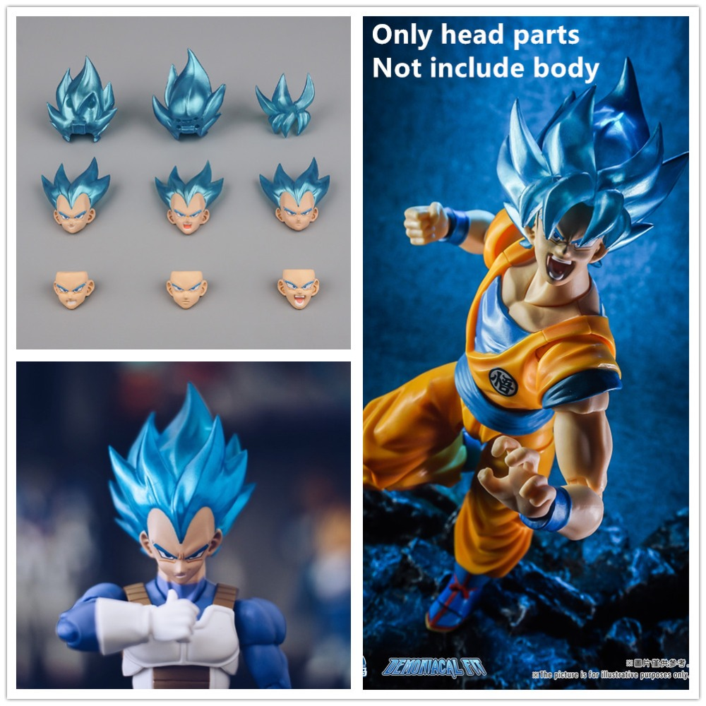 Cheval possédé demoniacal fit Super Saiyan tête bleue pièces (pas de corps) pour Bandai Dragon Ball SHF Son Goku Vegeta modèles NZ001