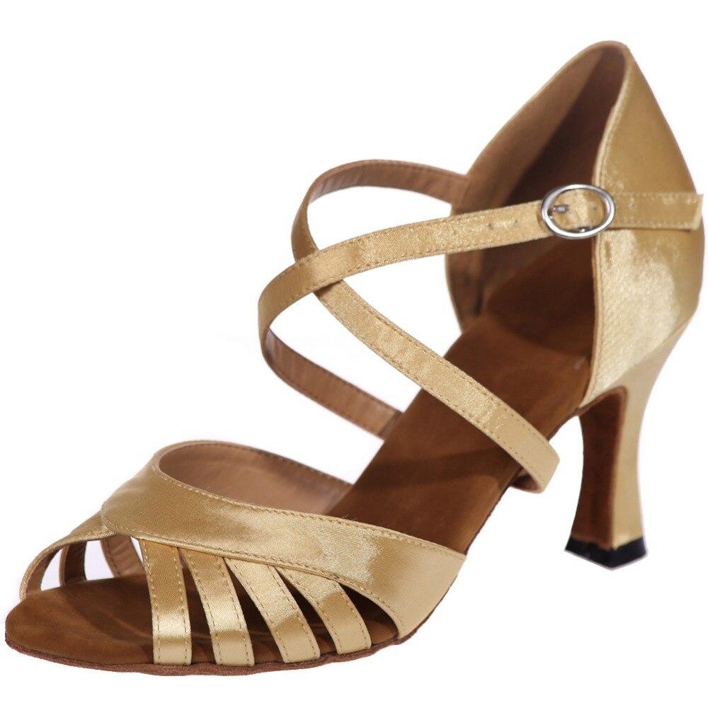 Ruban de soie pour femmes chaussures de danse salsa du ventre Latin enseignement performance cuir semelle souple or argent brun noir chaussures de danse