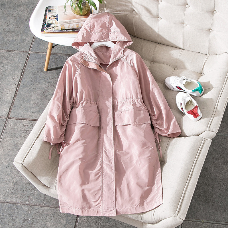 New 2018 spring fashion women girls cute pink thin trench coat ruched sleeve adjust waist beading mid length windbreaker black