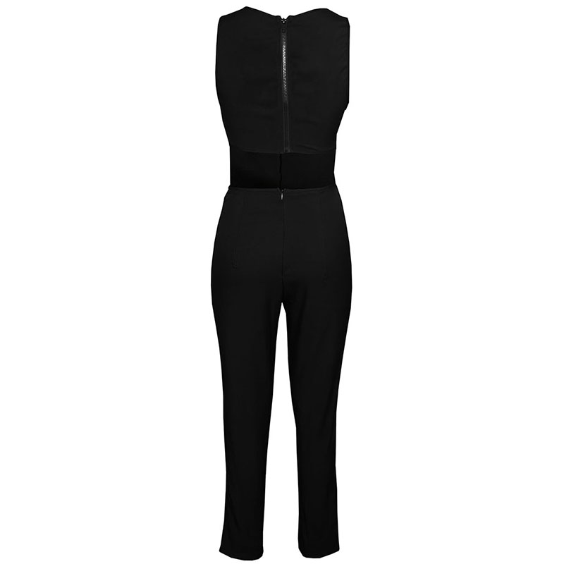 Summer Backless Jumpsuits New Sexy Hollow Sleeveless Women Bodysuit Black Zipper Skinny Combinaison Femme 2XL
