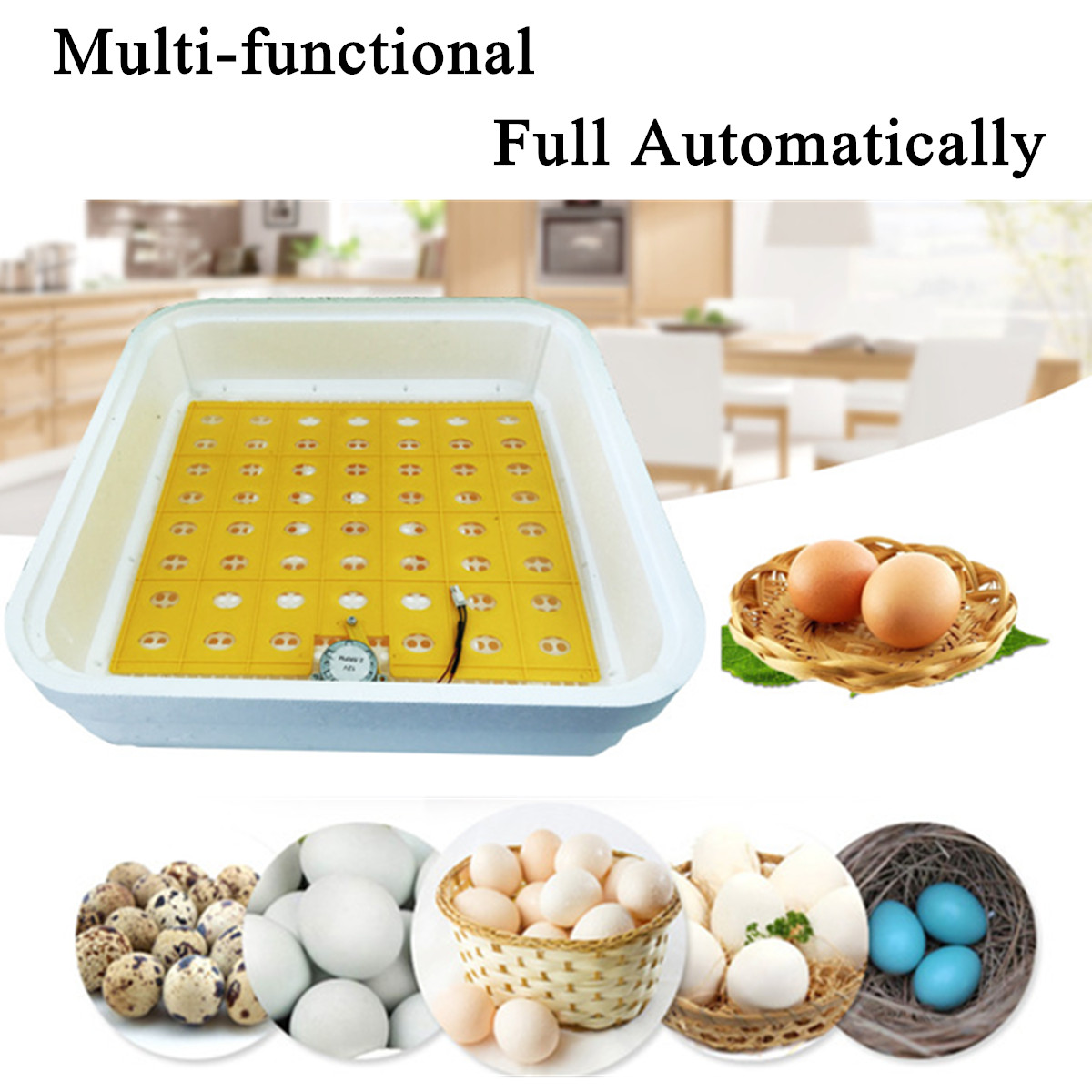Automatic Egg Hatcher Machine 55 Eggs Incubator Fully LED Turner Chicken Duck Digital Display Smart Sensitive US/EU Plug