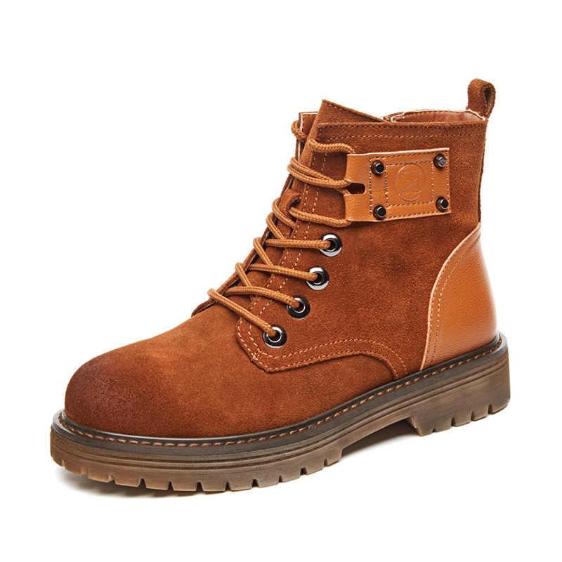 Bayan botları deri inek derisi günlük çizmeler kaymaz düz ayakkabı H-181