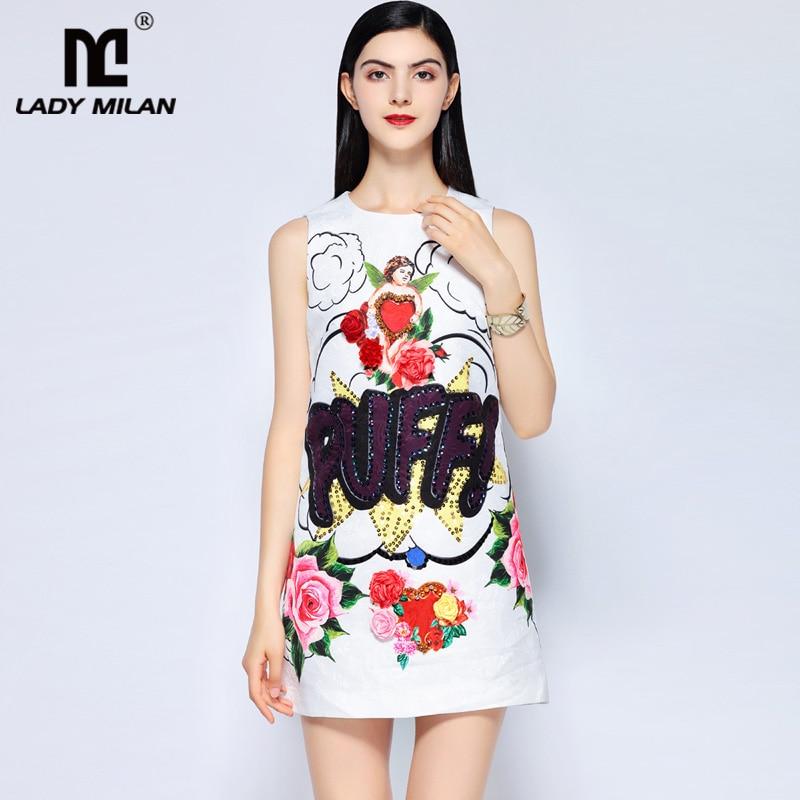 Lady Milan Womens O Neck Sleeveless Appliques Beaded Floral Printed Sequined Jacqauard Fashion Designer Short Runway Dresses