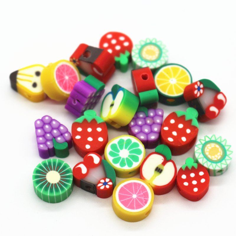 500Pcs Mix 10mm Fruit Slices Polymer Clay Beads For Scrapbooking Beads Clay Decoration DIY Bracelet &Necklacae Jewelry Findings