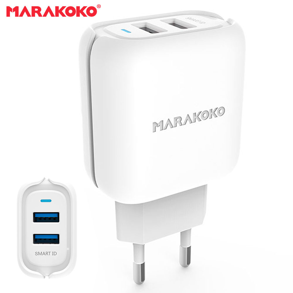Marakoko MA30 2-Port 24W USB charger For Samsung galaxy S8 S7 S6 EU US UK Plug Smart Wall Travel Charger 4.8A Phone Charger