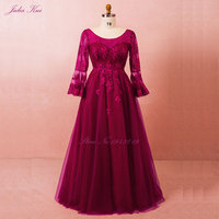 2018 Elegant Scoop Half Sleeves Mother Of The Bride Dresses Floor Length Lace Up Appliques Floor