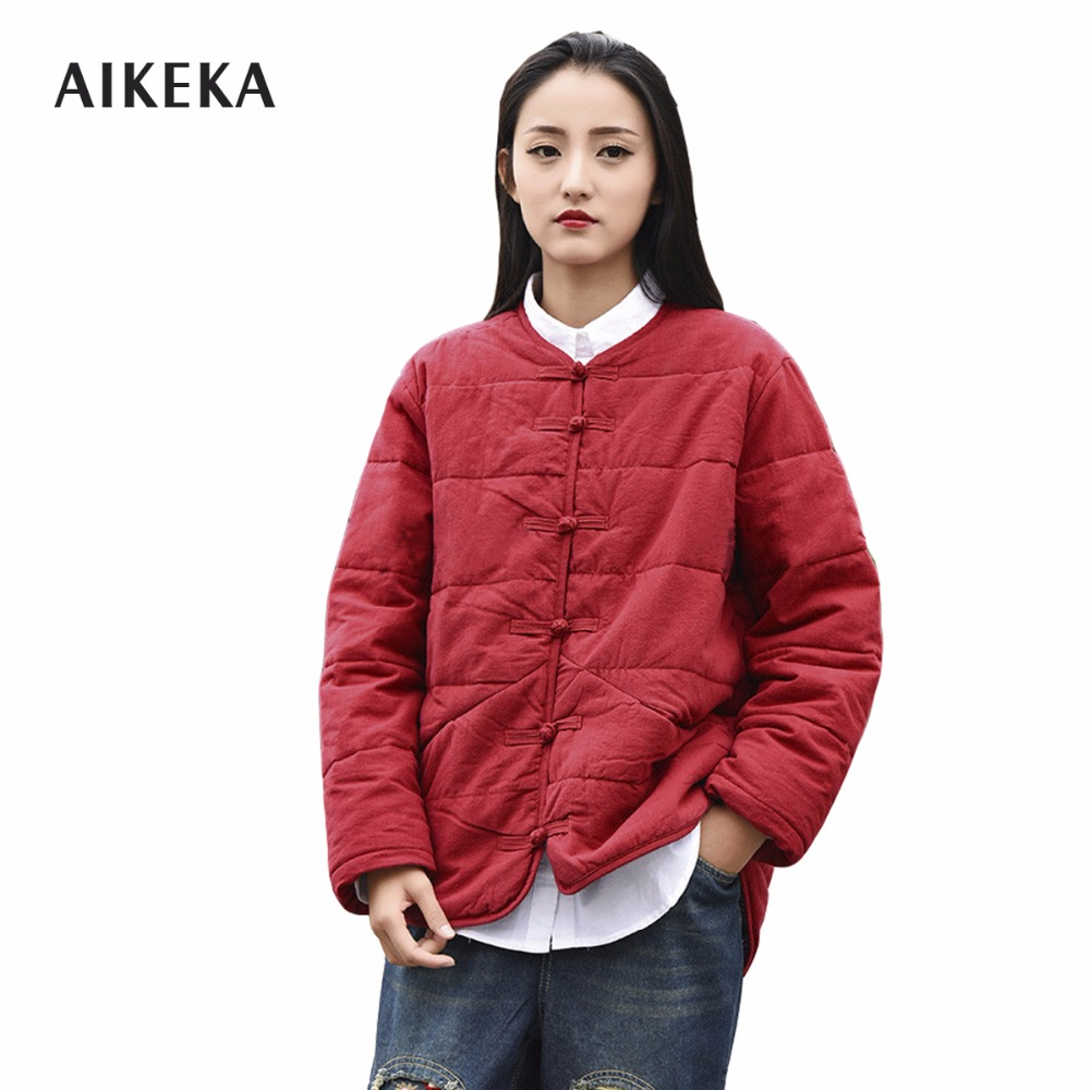 2017 Winter Chinese classical style cotton parka jacket women Chinoiserie warm coat comfortable thick jacket female outwear