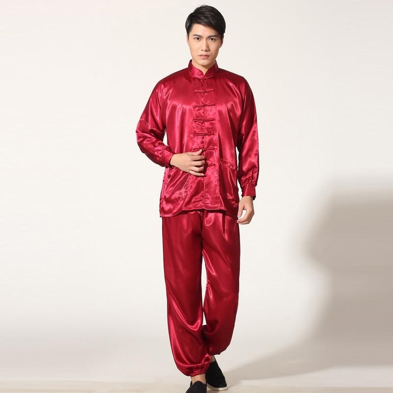 Chinese Homens Terno De Algodão Kung Fu Wu Shu Tai Chi Uniforme Camisa de Manga longa + Calça Curta roupas calças wing chun tai chi uniforme 3