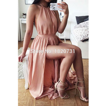 2020 New Fashion Sexy Halter Prom Party Dresses Sleeveless High Split Floor Length Long Custom Chiffon Formal Evening Dress
