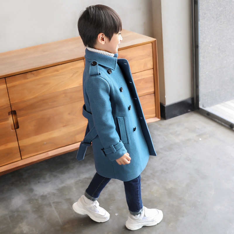 Boys woolen coat 2018 new autumn children's woolen coat in the long section of thick autumn and winter children's clothing new autumn period and the star of a women s clothing stripe trench coat female suit shorts cultivate morality
