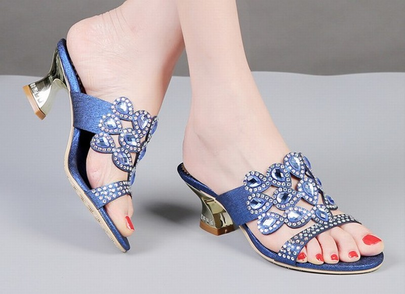 Tamaño Women Las Valentín De San Mujer Green Sapato Zapatos Sandalias sandals Altos 44 Gold Mujeres women Blue Más Tacones Sandals Slippers Feminino AqwTdA