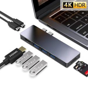 """Image 1 - Adaptateur de Dock Multiport USB C Hub pour Apple MacBook Pro 13 """"& 15"""" 2016,2017,2018,MacBook Air 2018,HDMI 4K, alimentation 100W, 40Gbp"""