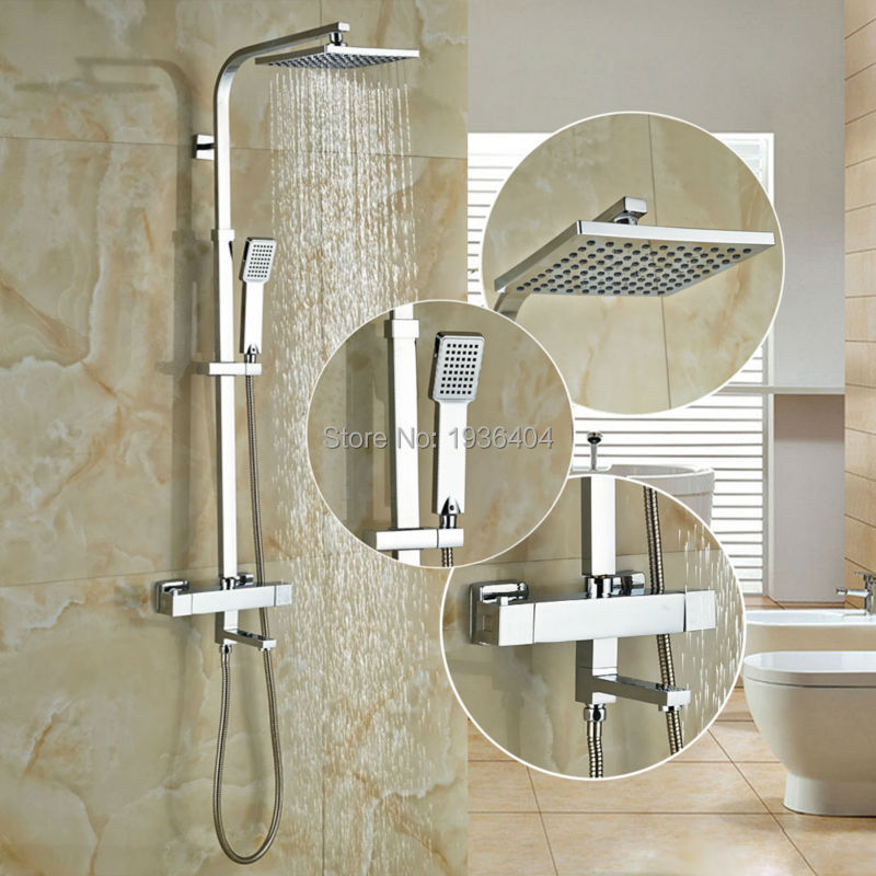 Bath Rainfall Thermostatic Shower Faucet Set Wall Mount Brass Chrome Finish Bath Mixer Tap 8 Shower Head With Hand Shower TR525 wholesale and retail wall mounted thermostatic valve mixer tap shower faucet 8 sprayer hand shower