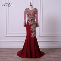 ADLN Modest Long Sleeve Evening Dresses Sparkly Rhinestone O Neck Muslim Mermaid Prom Party Gown Burgundy
