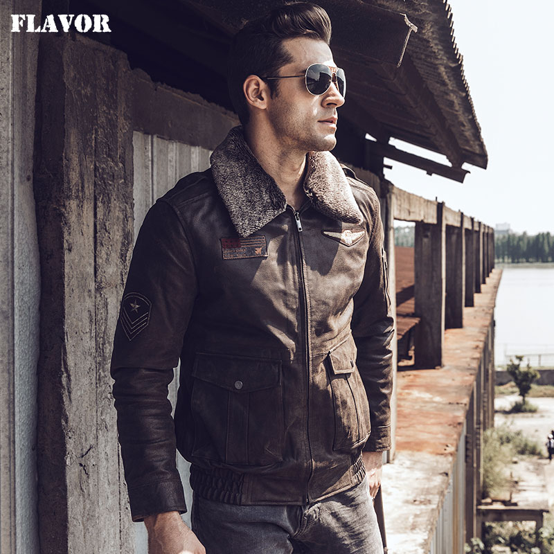 FLAVOR 2017 new winter Motorcycle genuine leather jacket pigskin jacket with faux fur shearling Real Leather