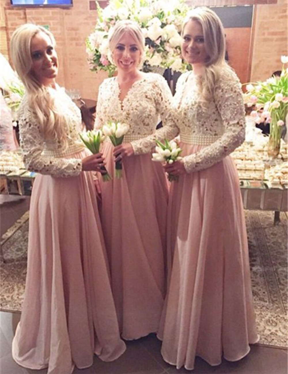 Beautiful pearls lace chiffon bridesmaid dresses pretty light pink beautiful pearls lace chiffon bridesmaid dresses pretty light pinkblush bridesmaid dress long sleeve bridesmaid gowns b104 in bridesmaid dresses from ombrellifo Image collections