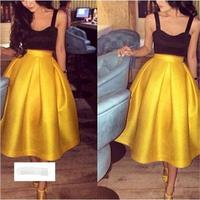 vestido ashionable Two Pieces Long Evening Dress Party Dresses 2019 Sweetheart Black Top Yelow Skirt Tea Length Prom Dresses